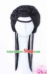 Traditional Chinese Drama Mui Tsai Wigs Sheath Ancient Handmade Peri Chignon Hair Accessories for Women