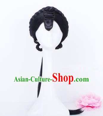Traditional Chinese Drama Young Mistress Wigs Sheath Ancient Peri Handmade Chignon Hair Accessories for Women