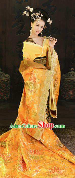 Chinese Ancient Cosplay Tang Dynasty Imperial Consort Replica Costumes Traditional Empress Hanfu Dress and Headpiece for Women