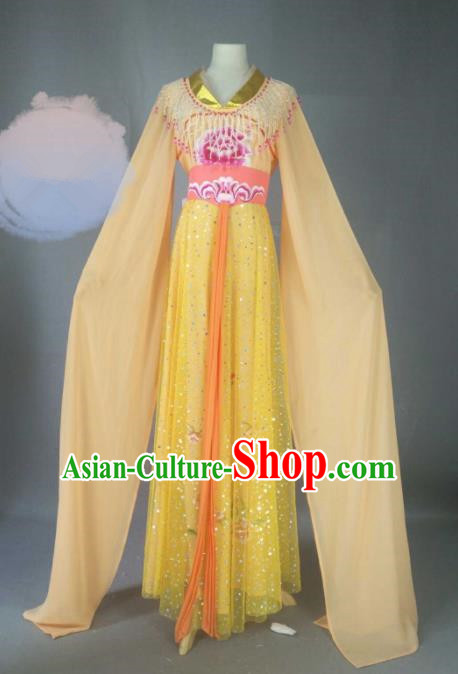 Chinese Traditional Peking Opera Princess Orange Costumes Ancient Fairy Dress for Adults