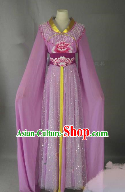 Chinese Traditional Peking Opera Princess Purple Costumes Ancient Fairy Dress for Adults