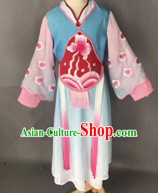 Chinese Traditional Peking Opera Maidservants Blue Costumes Ancient Mui Tsai Dress for Adults