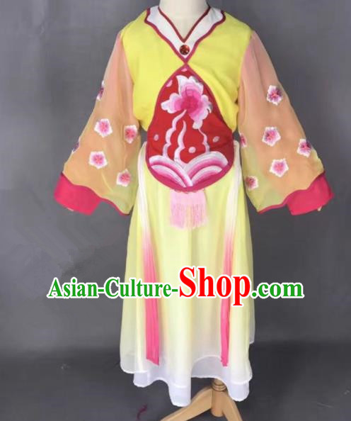 Chinese Traditional Peking Opera Maidservants Yellow Costumes Ancient Mui Tsai Dress for Adults