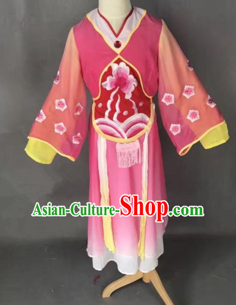 Chinese Traditional Peking Opera Maidservants Rosy Costumes Ancient Mui Tsai Dress for Adults