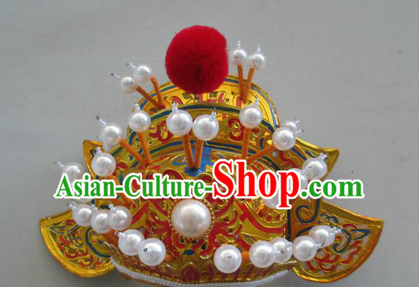 Chinese Traditional Peking Opera Takefu Hat Ancient Helmet Headwear for Adults