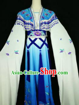 Chinese Traditional Peking Opera Costumes Ancient Nobility Lady Blue Dress for Adults