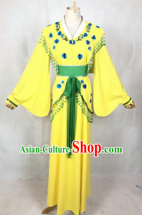Chinese Traditional Peking Opera Costumes Ancient Young Lady Yellow Dress for Adults