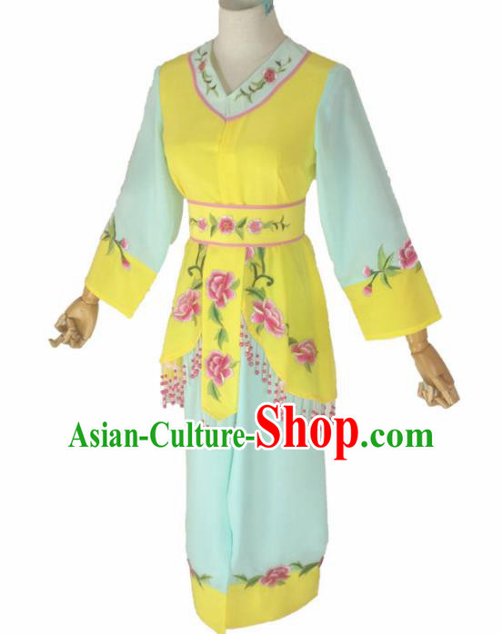 Chinese Traditional Peking Opera Costumes Ancient Maidservants Yellow Dress for Adults