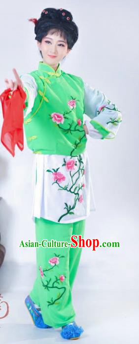 Chinese Traditional Peking Opera Mui Tsai Green Costumes Ancient Young Lady Dress for Adults