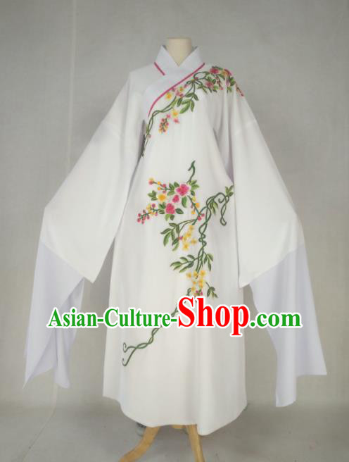Chinese Traditional Peking Opera Niche Costume Ancient Prince White Robe for Adults