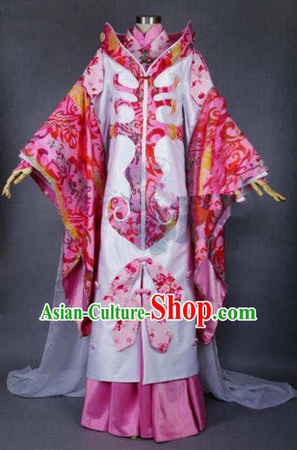Asian Chinese Cosplay Princess Rosy Costumes Ancient Swordswoman Dress Clothing for Women