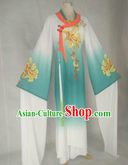 Chinese Traditional Peking Opera Princess Costumes Ancient Beijing Opera Diva Green Dress for Adults