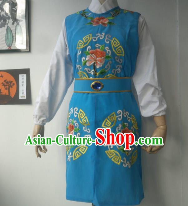 Chinese Traditional Peking Opera Niche Costumes Blue Vest for Adults