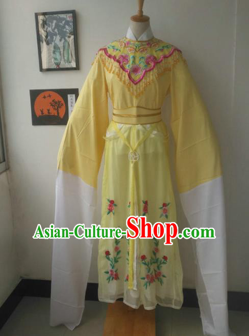 Chinese Traditional Peking Opera Princess Costumes Ancient Fairy Yellow Dress for Adults