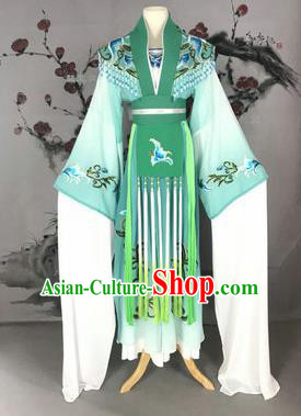 Chinese Traditional Peking Opera Actress Costumes Ancient Imperial Concubine Embroidered Green Dress for Adults
