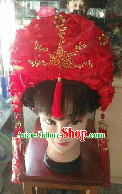Chinese Traditional Peking Opera Diva Hair Accessories Ancient Bride Headwear for Adults