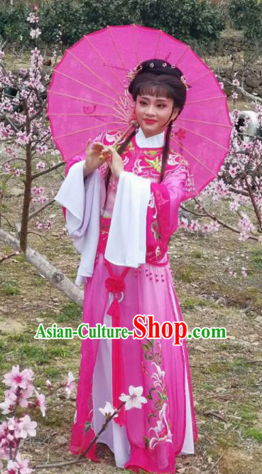 Chinese Traditional Peking Opera Actress Costumes Ancient Princess Rosy Dress for Adults