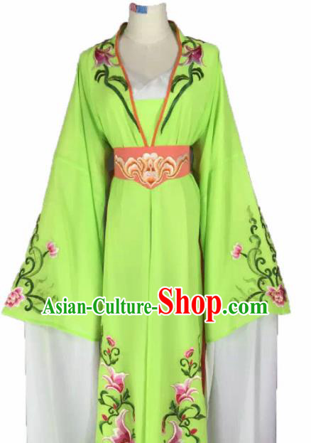 Chinese Traditional Peking Opera Actress Costumes Ancient Maidservants Green Dress for Adults