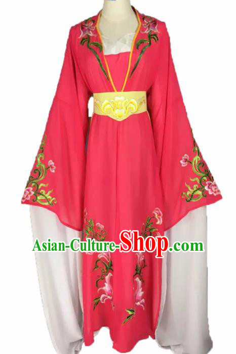 Chinese Traditional Peking Opera Actress Costumes Ancient Maidservants Rosy Dress for Adults