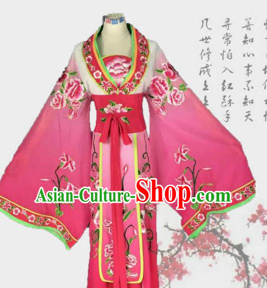 Chinese Traditional Peking Opera Actress Costumes Ancient Palace Princess Rosy Dress for Adults