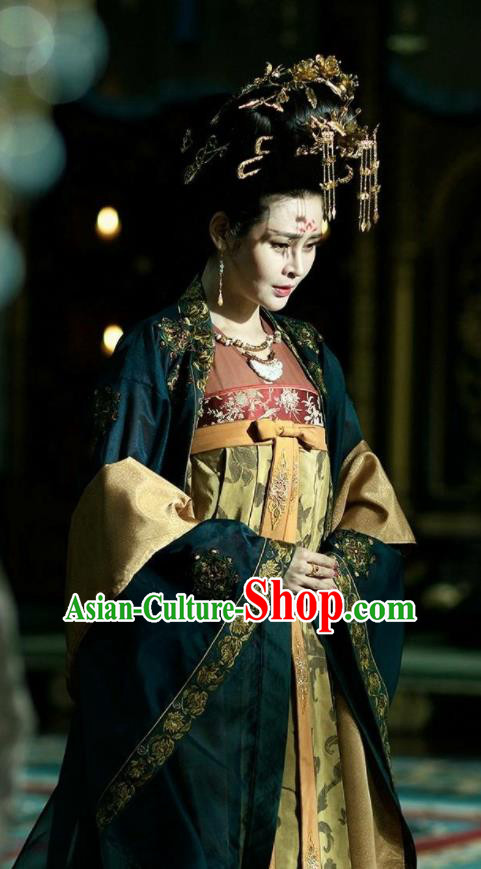 Chinese Ancient Tang Dynasty Imperial Concubine Costumes The Rise of Phoenixes Palace Lady Clothing and Headpiece Complete Set
