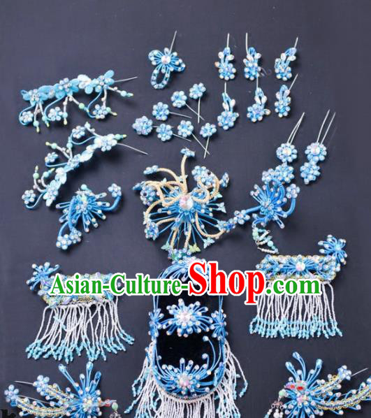 Chinese Traditional Peking Opera Diva Hair Accessories Ancient Princess Blue Hairpins Headwear for Adults