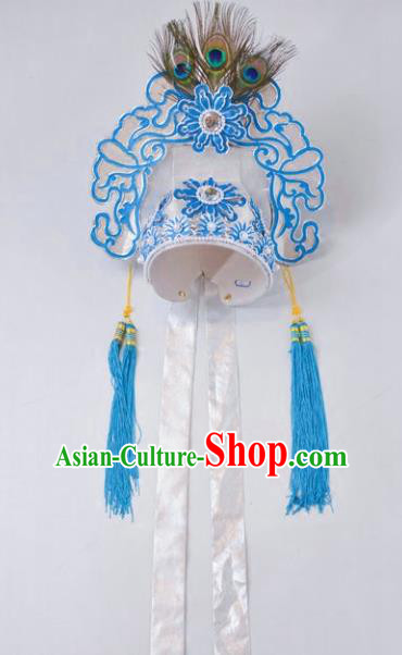 Chinese Traditional Peking Opera Niche Scholar White Hat Headwear for Adults