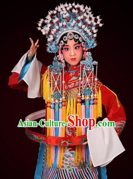 Chinese Traditional Peking Opera Empress Costumes Ancient Queen Red Dress and Headwear for Kids