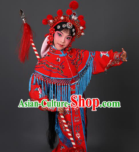 Chinese Traditional Peking Opera Blues Costumes Ancient Female Warriors Red Clothing for Kids