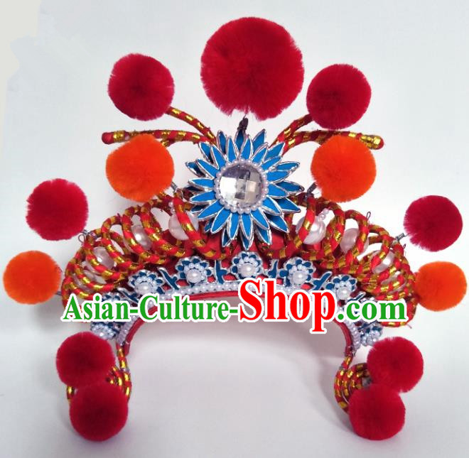 Chinese Traditional Peking Opera Blues Hat Ancient Female Warriors Helmet for Adults
