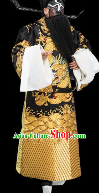 Chinese Traditional Peking Opera Chancellor Costume Ancient Bao Zheng Black Embroidered Robe for Adults