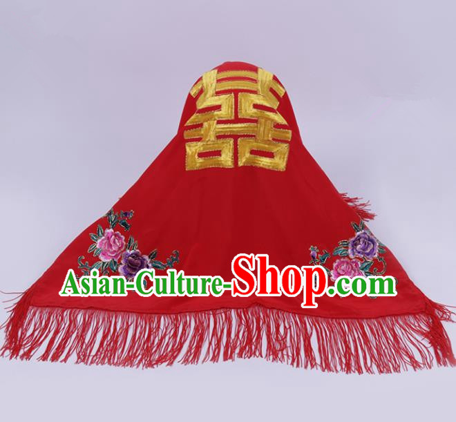 Chinese Traditional Peking Opera Wedding Bride Red Veil Head Cover for Adults