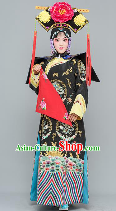 Chinese Traditional Peking Opera Diva Costumes Ancient Qing Dynasty Empress Black Dress for Adults