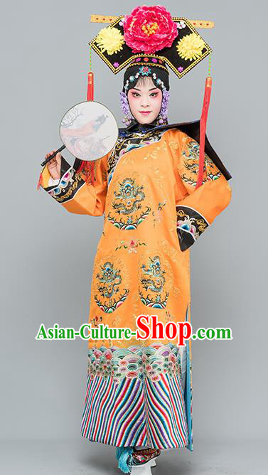 Chinese Traditional Peking Opera Diva Costumes Ancient Qing Dynasty Empress Orange Dress for Adults