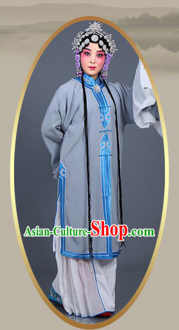 Chinese Traditional Beijing Opera Actress Costumes Ancient Young Mistress Grey Dress for Adults