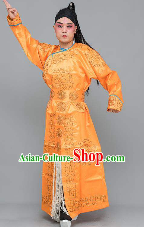 Chinese Traditional Peking Opera Takefu Costume Ancient Imperial Bodyguard Orange Embroidered Robe for Adults