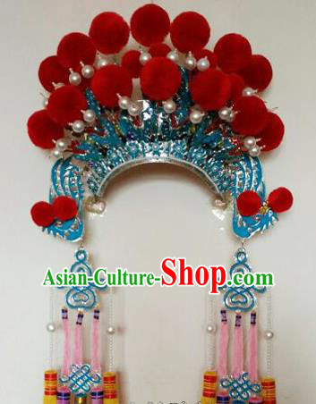 Chinese Traditional Peking Opera Blues Hat Ancient Female General Tassel Headwear for Adults
