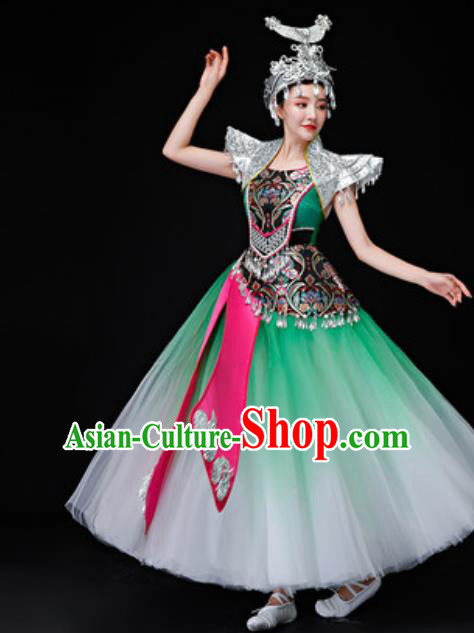 Chinese Traditional Miao Nationality Folk Dance Costumes Hmong Dance Green Dress for Women