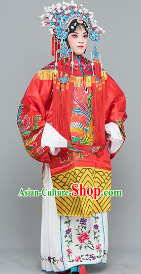 Chinese Traditional Peking Opera Princess Red Costumes Ancient Palace Lady Embroidered Robe for Adults
