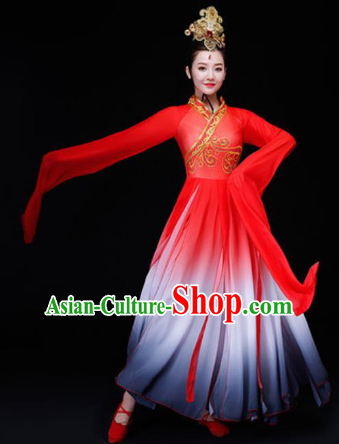 Chinese Traditional Folk Dance Costume Classical Dance Red Dress for Women