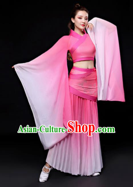 Chinese Traditional Folk Dance Costume Classical Dance Pink Hanfu Dress for Women