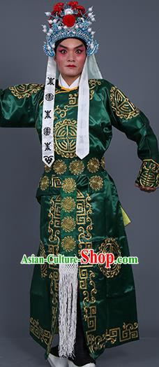 Chinese Traditional Peking Opera Takefu Costume Ancient Imperial Bodyguard Green Embroidered Robe for Adults