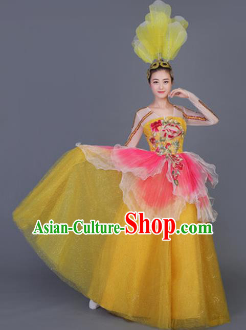 Professional Opening Dance Costume Stage Performance Flowers Yellow Dress for Women