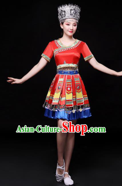 Chinese Traditional Miao Nationality Folk Dance Costume Hmong Minority Dance Red Dress for Women