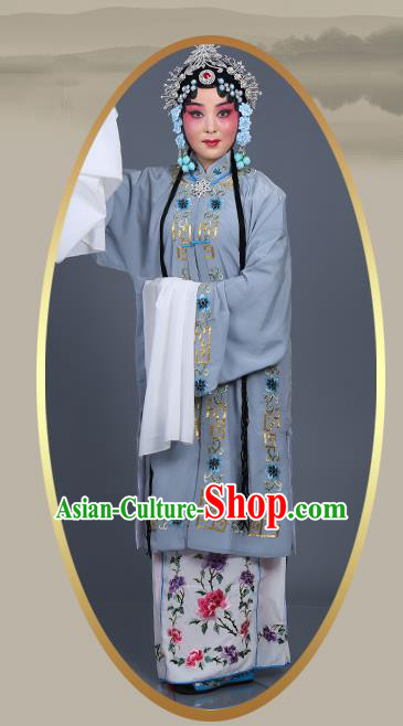 Chinese Traditional Beijing Opera Actress Costumes Ancient Nobility Lady Grey Dress for Adults