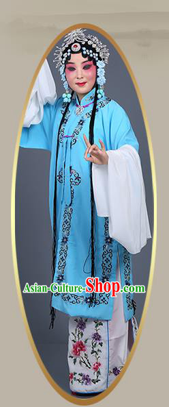 Chinese Traditional Beijing Opera Actress Costumes Ancient Nobility Lady Blue Dress for Adults