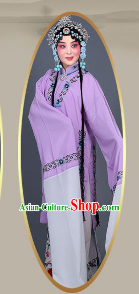 Chinese Traditional Beijing Opera Actress Costumes Ancient Nobility Lady Purple Dress for Adults