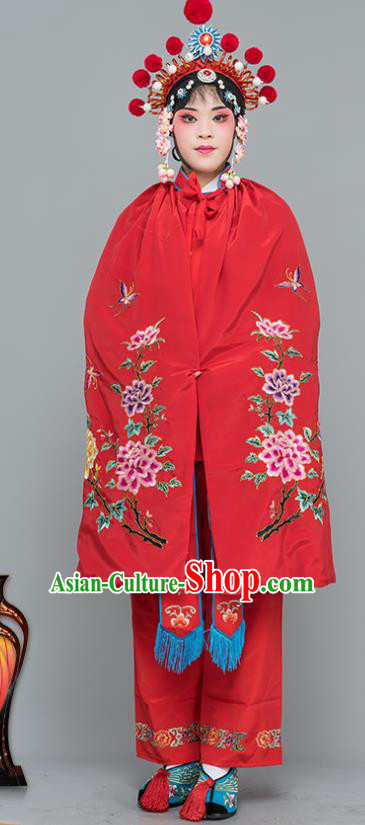 Chinese Traditional Peking Opera Blues Costumes Ancient Female Warriors Red Short Cloak for Adults