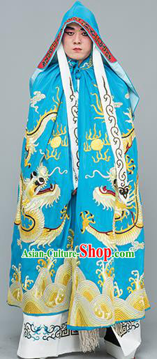 Chinese Traditional Peking Opera Takefu Costume Ancient Changing Faces Blue Cloak for Adults