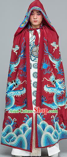 Chinese Traditional Peking Opera Takefu Costume Ancient Changing Faces Purplish Red Cloak for Adults
